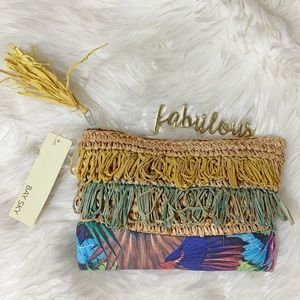Bay sky Woven raffia Fringe tropical print clutch